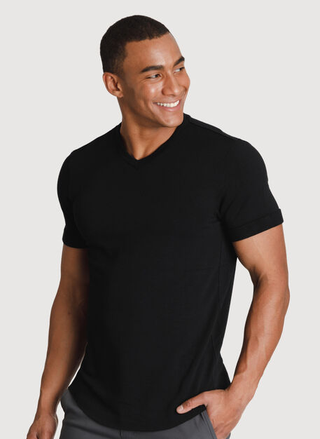 Cuffed Brushed V-Neck, BLACK | Kit and Ace