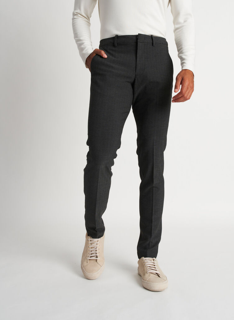 Recycled Suiting Trouser, HERRINGBONE Black/Charcoal | Kit and Ace