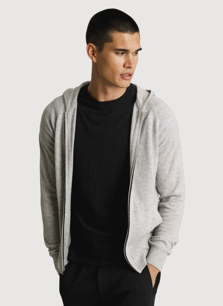 Mens Cashmere Zip Hoodie, HTHR Foggy | Kit and Ace