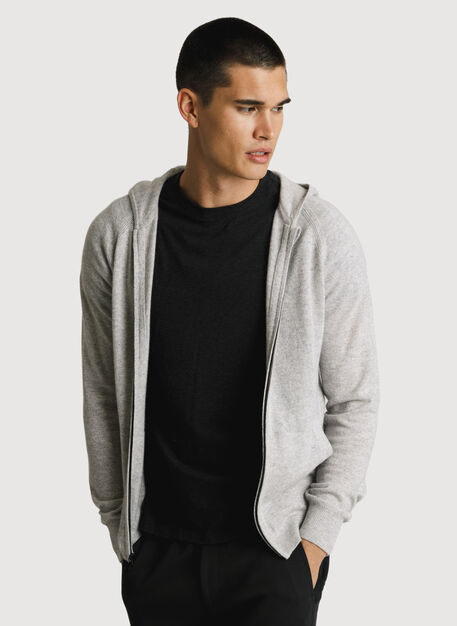 Mens Cashmere Zip Hoodie, Heather Foggy | Kit and Ace