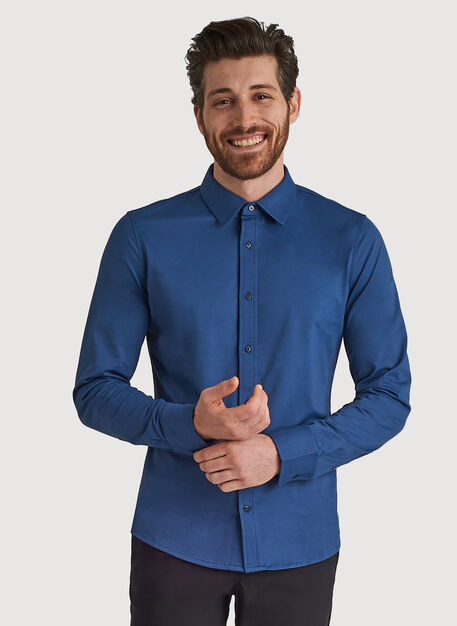 City Tech Long Sleeve Shirt, Dark Denim | Kit and Ace