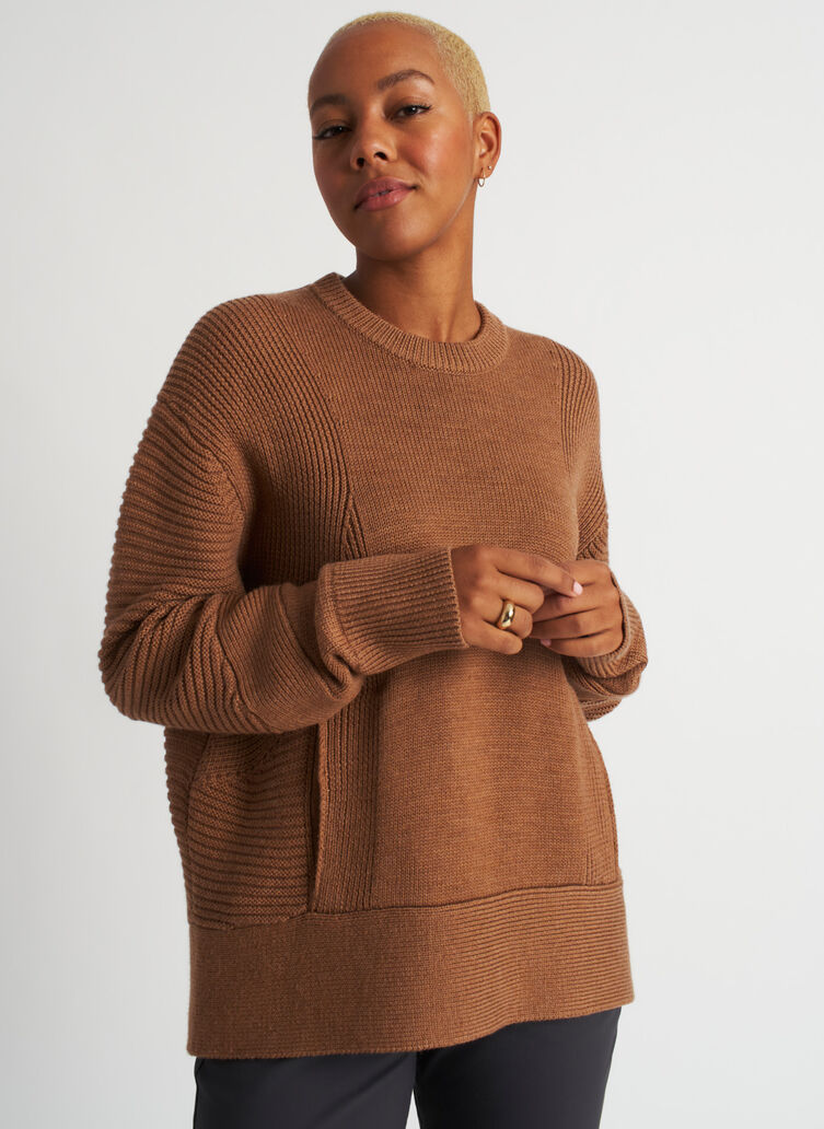 Ash Crewneck Sweater, Heather Toffee | Kit and Ace