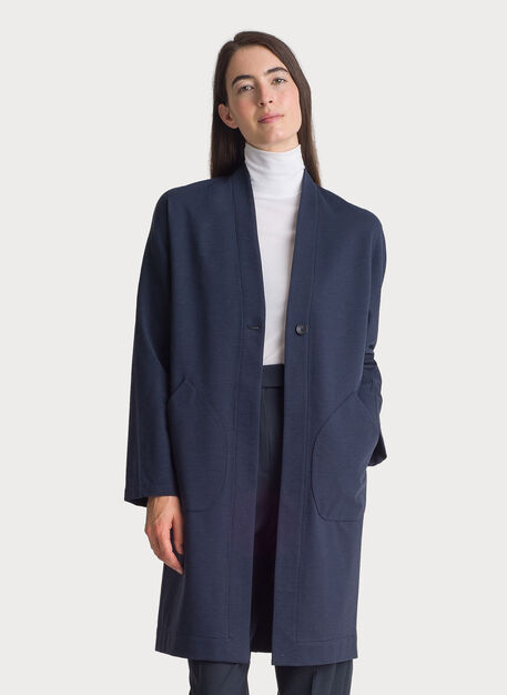 Long Stretch Jacket, HTHR DK Navy | Kit and Ace