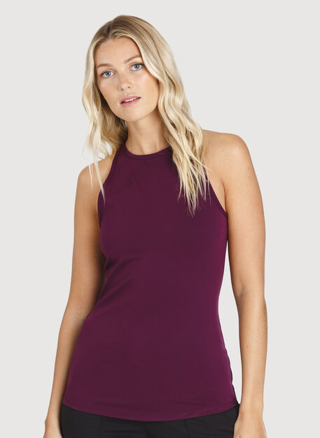 The Base High Neck Tank, Dark Plum | Kit and Ace
