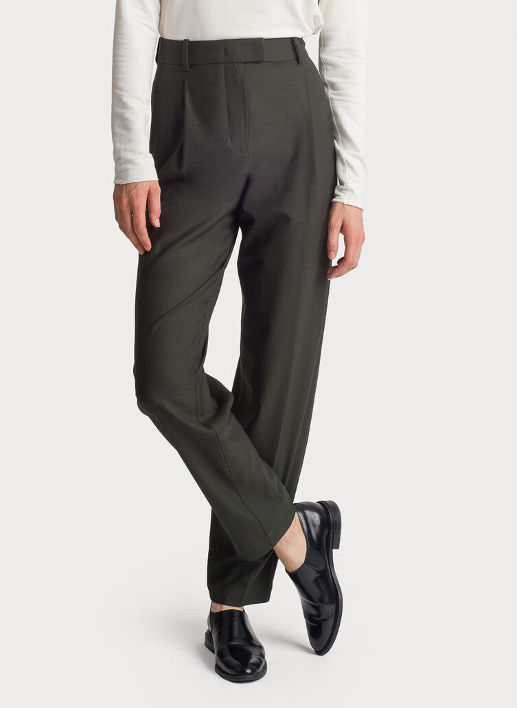 Stretch Suiting Pleated Trouser, HTHR Hunter | Kit and Ace