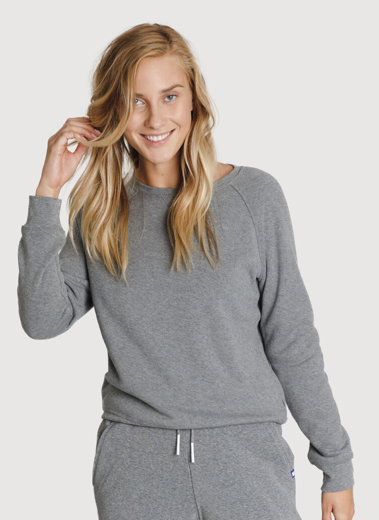 Rec Raglan Relaxed Crew, HTHR GREY   Kit and Ace