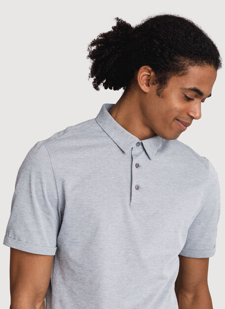 Court Stretch Polo, Grey Chambray | Kit and Ace