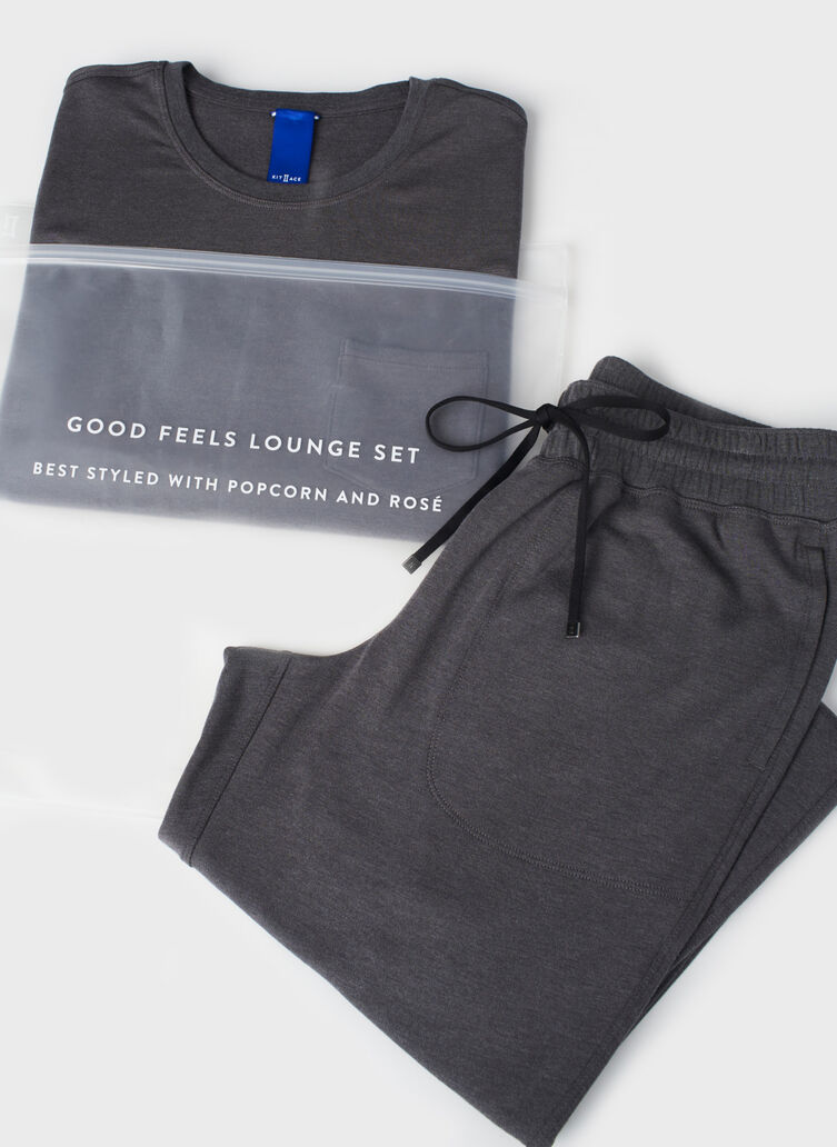 Good Feels Lounge Set, Heather Charcoal | Kit and Ace