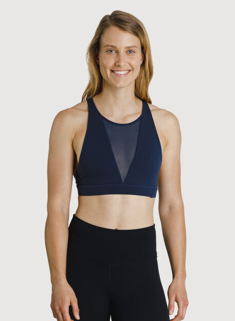 The Base High Neck Bra, DK Navy | Kit and Ace