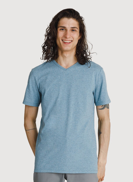 Ace Pima V-Neck, Hthr Smoke Blue | Kit and Ace
