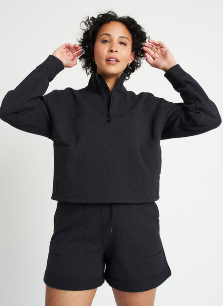 Lounge Pullover, Heather Black | Kit and Ace