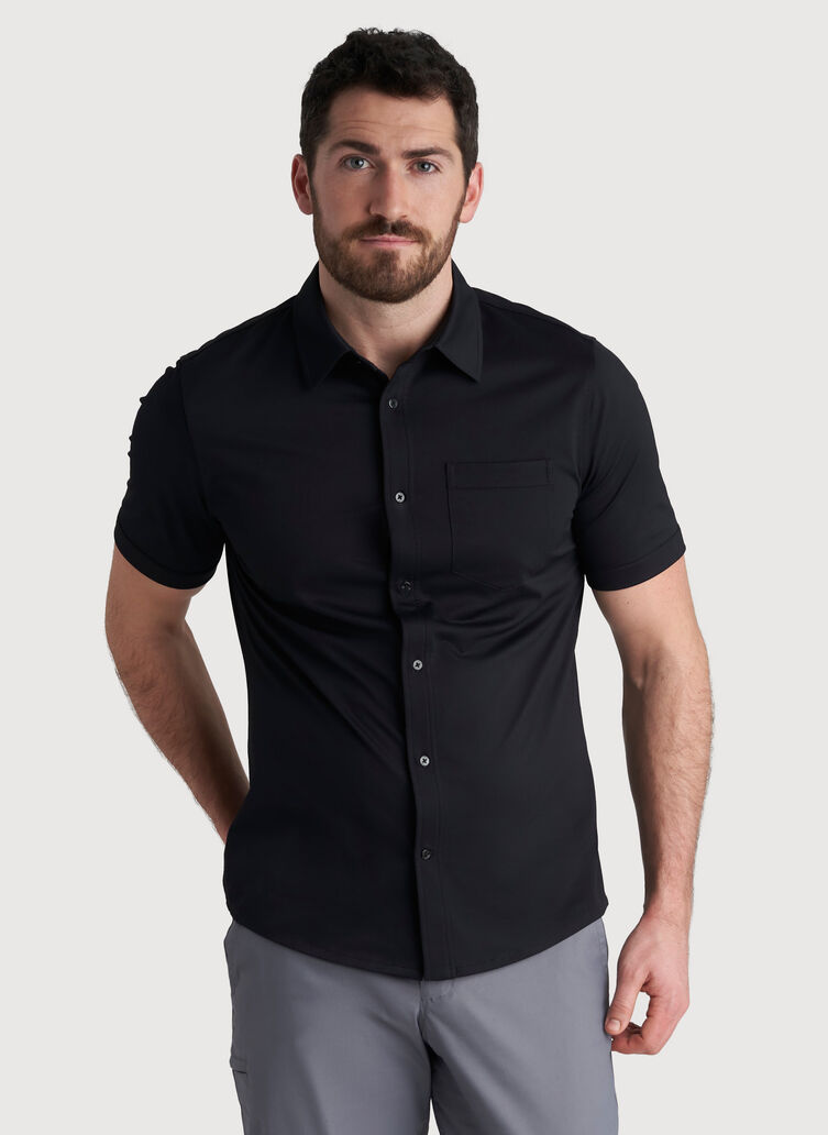 City Tech Classic Short Sleeve Shirt, Black | Kit and Ace