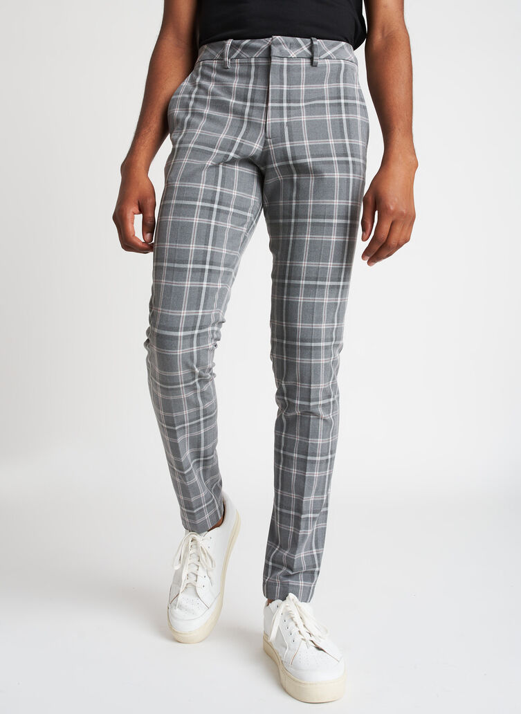 Recycled Suiting Trouser, PLAID Grey/Charcoal   Kit and Ace