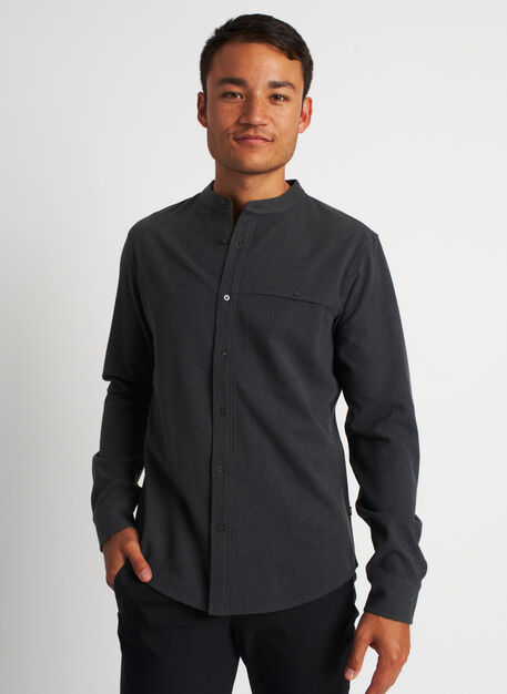 Urban Adventure Collarless Flannel Shirt, Heather Charcoal | Kit and Ace