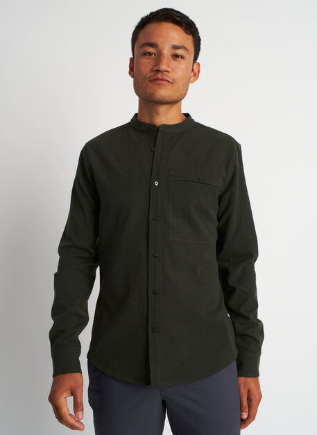 Urban Adventure Collarless Flannel Shirt, Heather Cedar | Kit and Ace