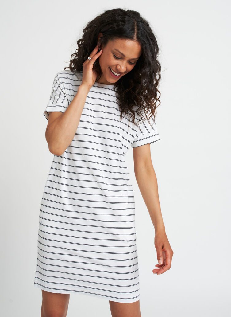 Back to Front Dress, White Duo Black Stripe | Kit and Ace