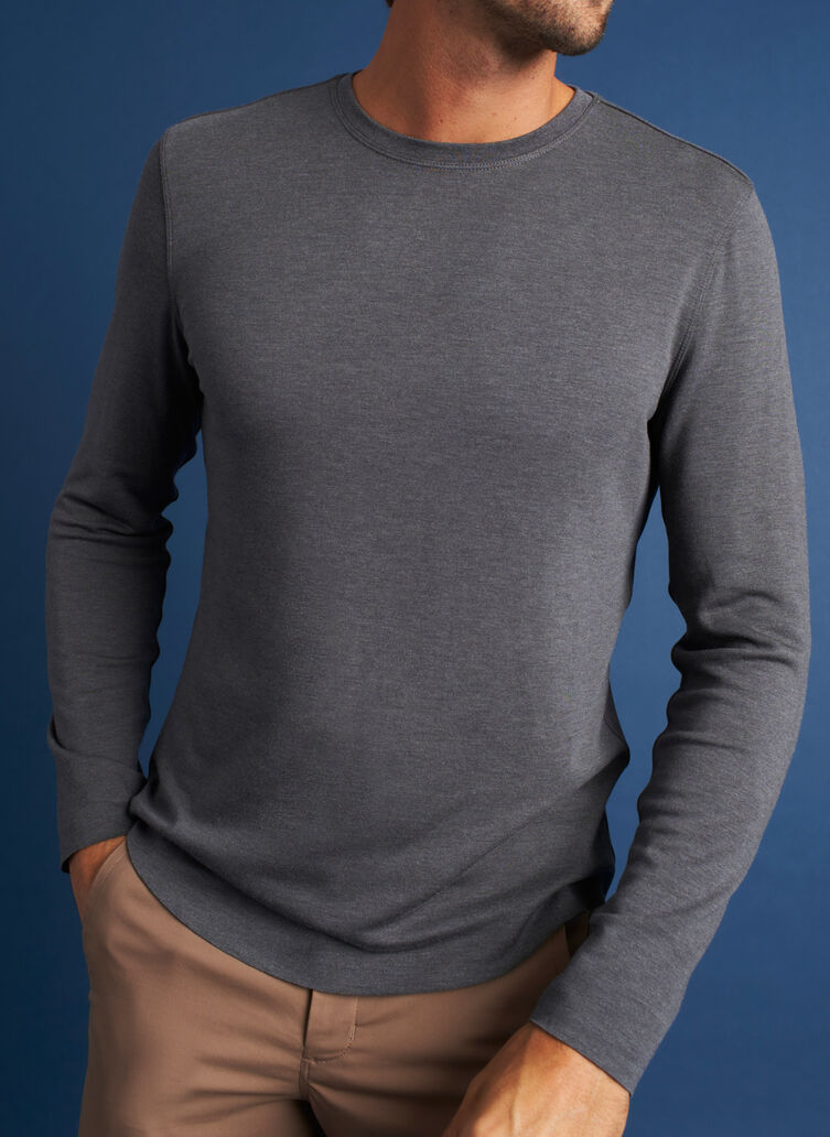 The B.F.T. Long Sleeve Crewneck Tee, Heather Charcoal | Kit and Ace