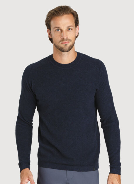Cashmere Crew Sweater, HTHR DK Navy | Kit and Ace