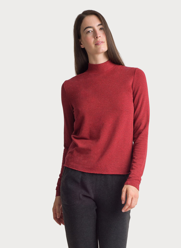 Brushed Mock Neck Long Sleeve Tee, HTHR NUTMEG | Kit and Ace