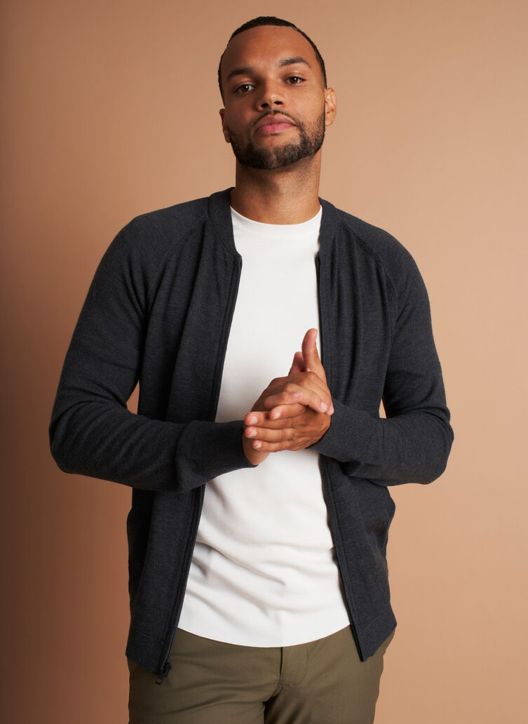 A to B Merino Bomber, Heather Charcoal | Kit and Ace