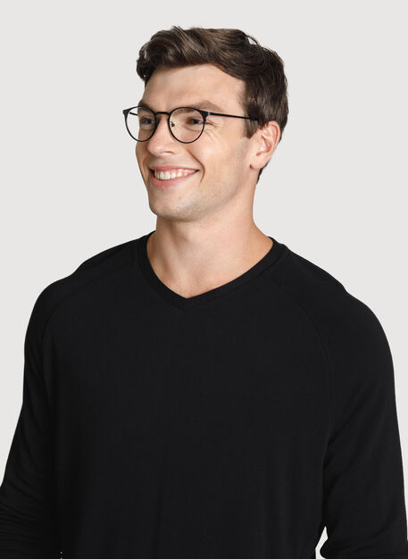 Time Out Brushed V Neck 2.0, BLACK | Kit and Ace