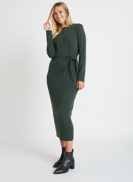 Brushed Tie Dress Long Sleeve, Heather Forest | Kit and Ace