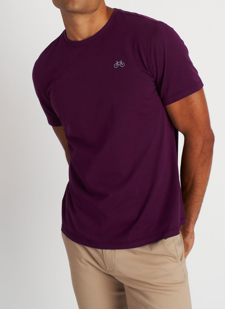 Motion Crewneck Tee, Dark Plum | Kit and Ace