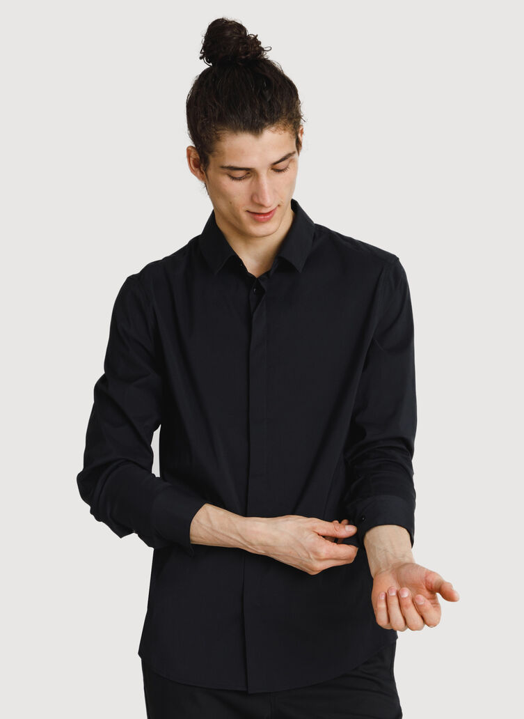 Crosstown Stretch Button Up, BLACK | Kit and Ace