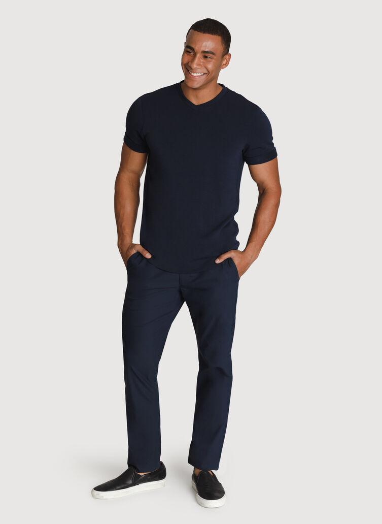 Cuffed Brushed V-Neck, Dark Navy | Kit and Ace