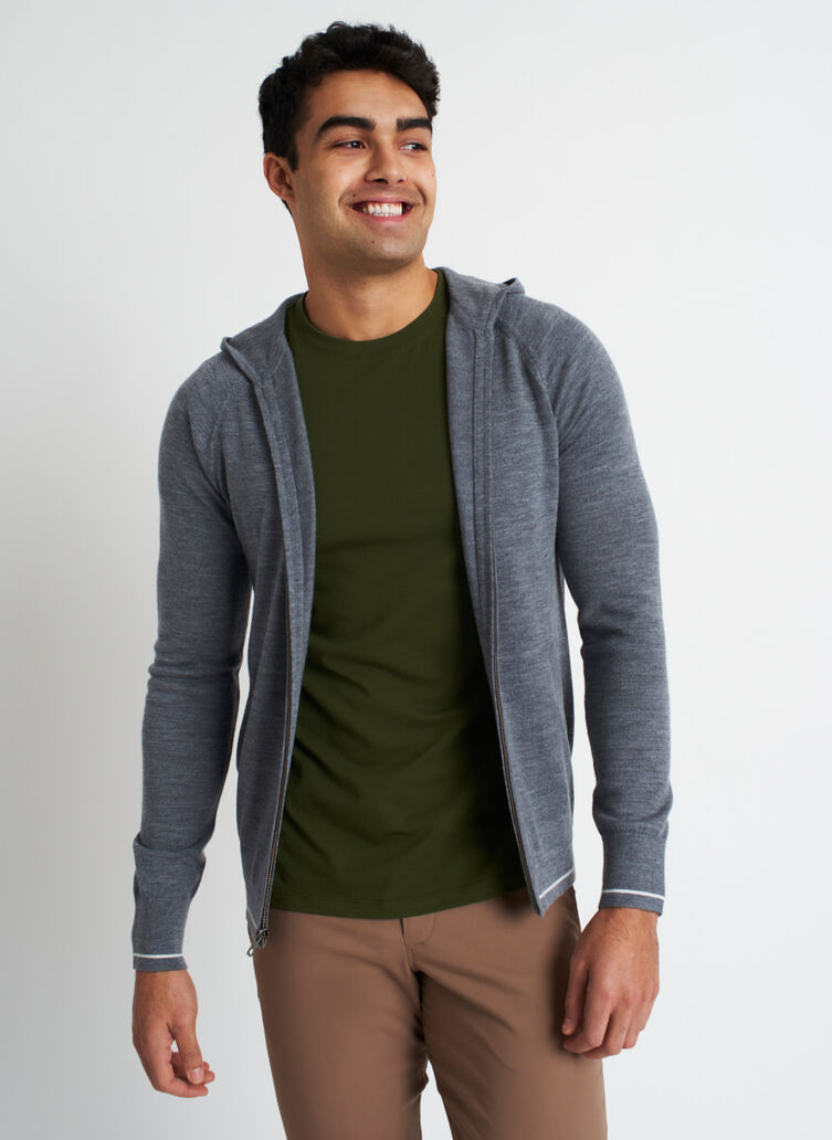 A to B Merino Hoodie, Heather Grey/Ivory | Kit and Ace