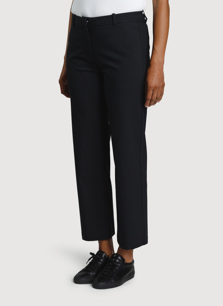 Wide Leg Ankle Pants, Black | Kit and Ace