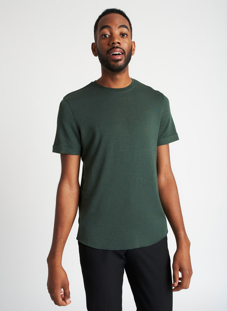 Brushed Crewneck Tee, Heather Forest | Kit and Ace