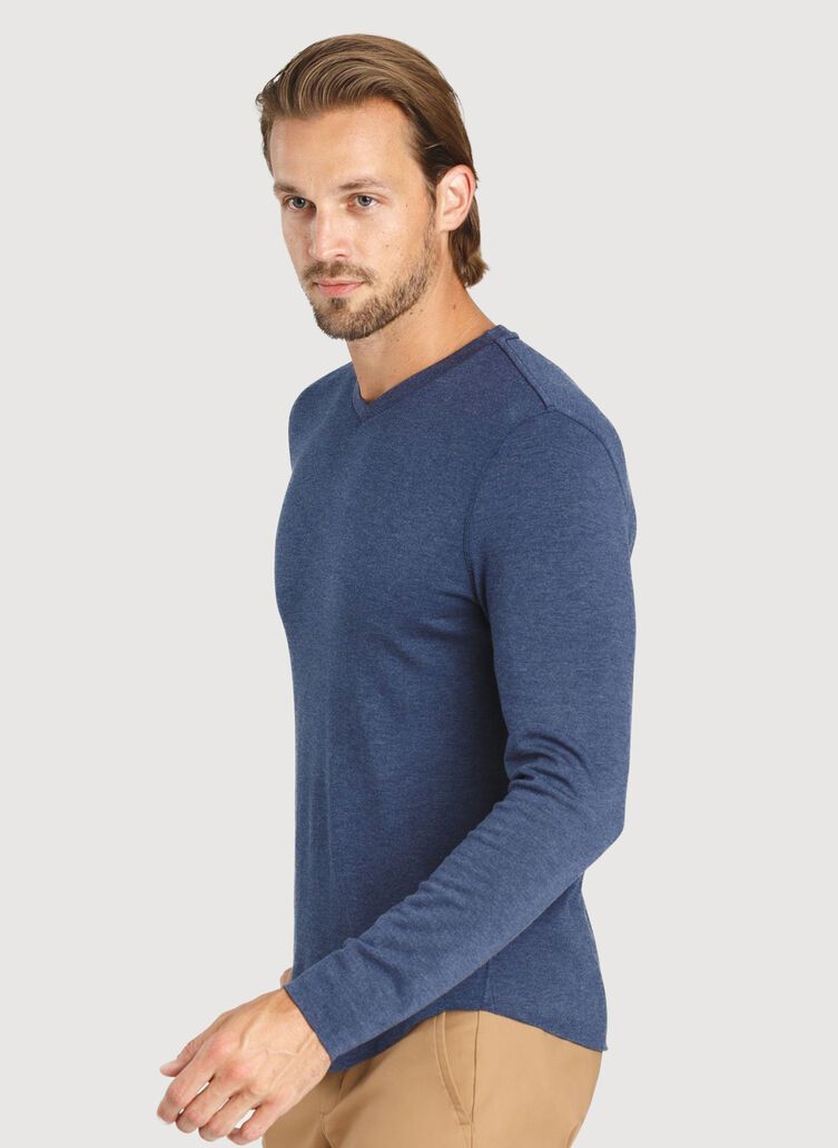 The B.F.T. Long Sleeve V-Neck Tee, Heather Dark Navy | Kit and Ace