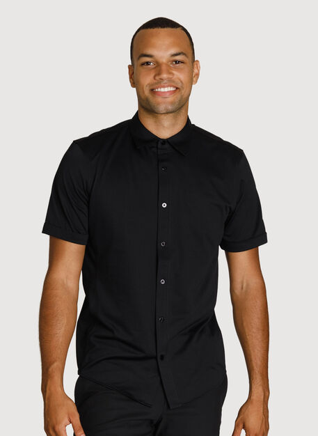 Court Stretch Short Sleeve Shirt, Black | Kit and Ace