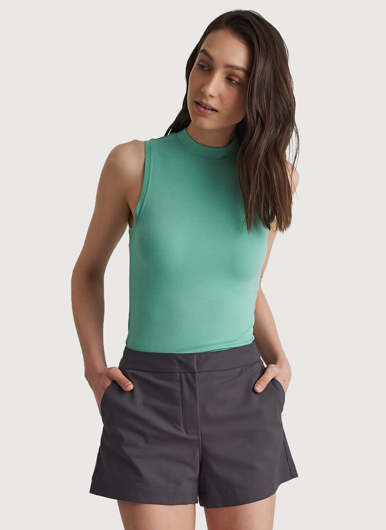 Kit Tech Jersey Mock Neck Tank Slim Fit, HTHR Seafoam | Kit and Ace