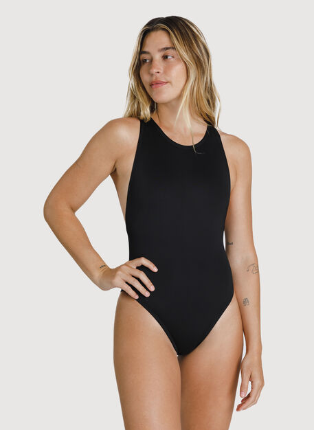 High Neck Swim One Piece, BLACK | Kit and Ace