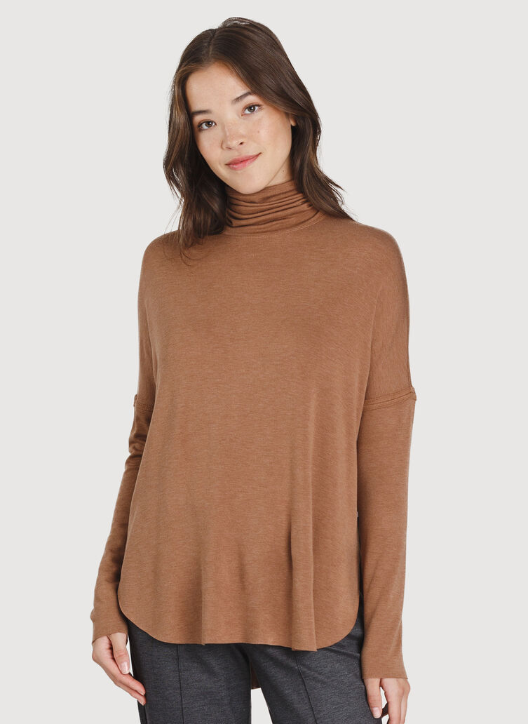 Burrow Turtleneck, HTHR Toffee | Kit and Ace