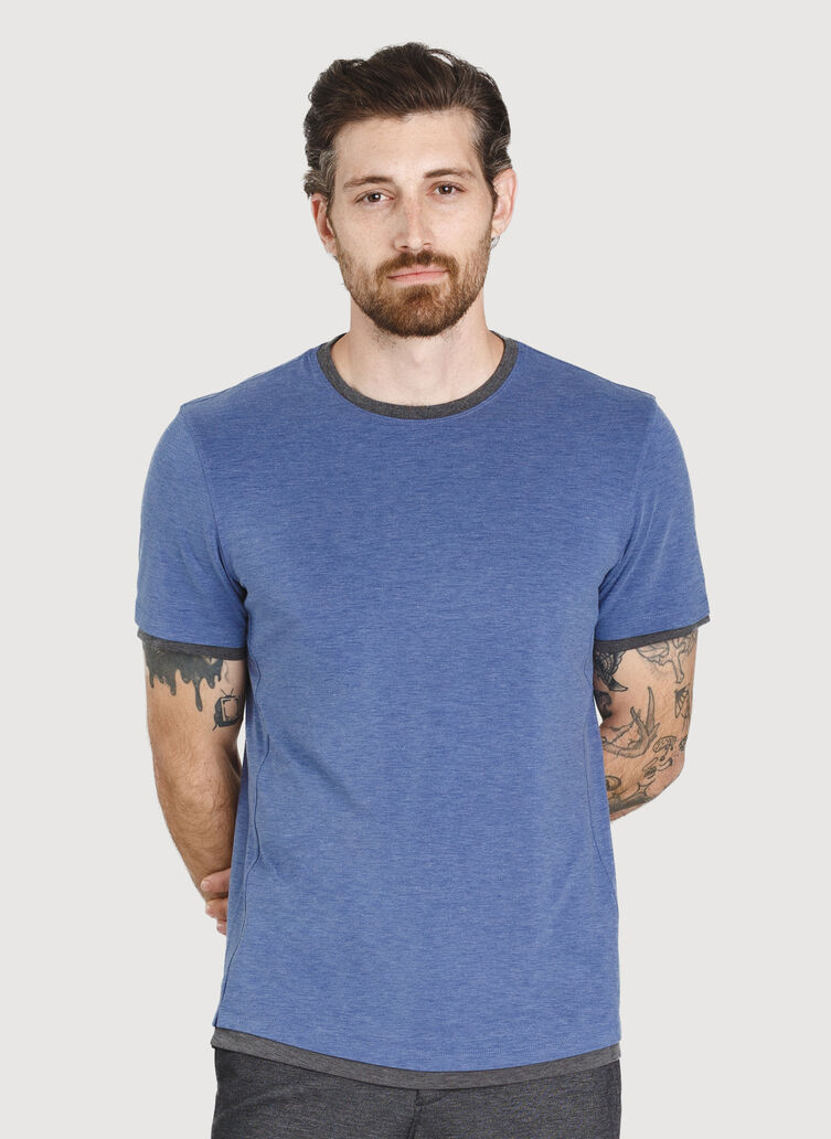Ace Reversible Short Sleeve, HTHR Blue Indi/HTHR Charc | Kit and Ace