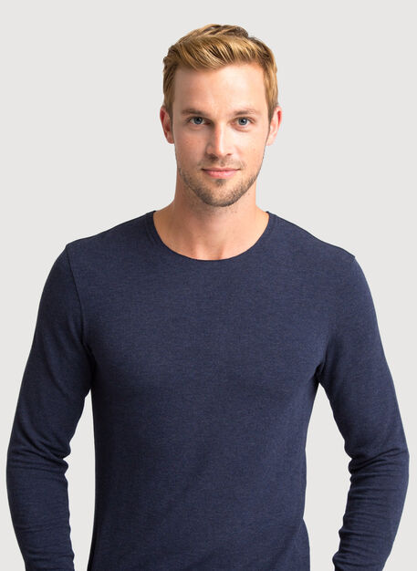 Edge Brushed Crew Long Sleeve 2.0, HTHR DK Navy | Kit and Ace