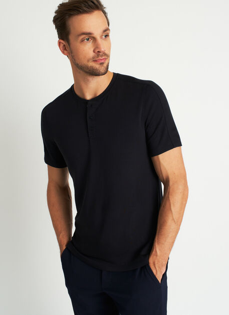 Comfy Brushed Henley Tee, Black | Kit and Ace