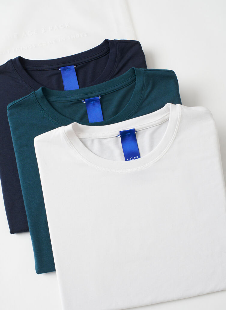 Ace Crew 3 Pack, Dark Navy/Bright White/Deep Teal | Kit and Ace