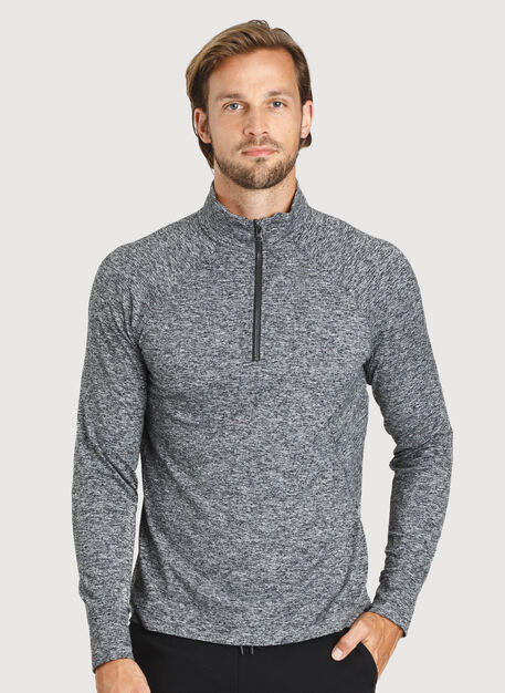 Side Storage Quarter Zip, Heather Dark Grey | Kit and Ace