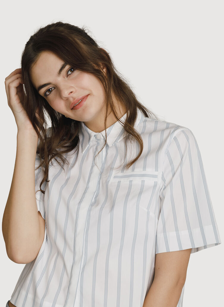 Stretch Cropped Blouse, BRIGHT WHITE/OCEAN STRIPE | Kit and Ace
