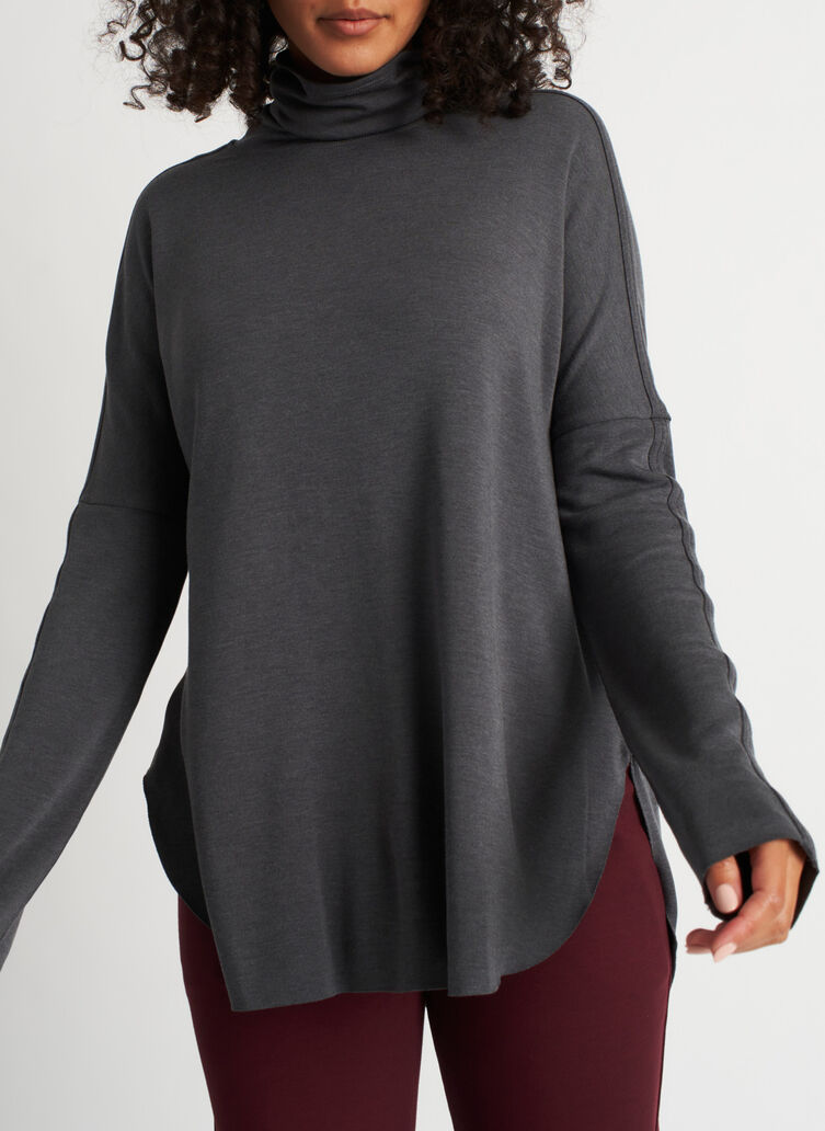 Burrow Turtleneck, Heather Charcoal | Kit and Ace