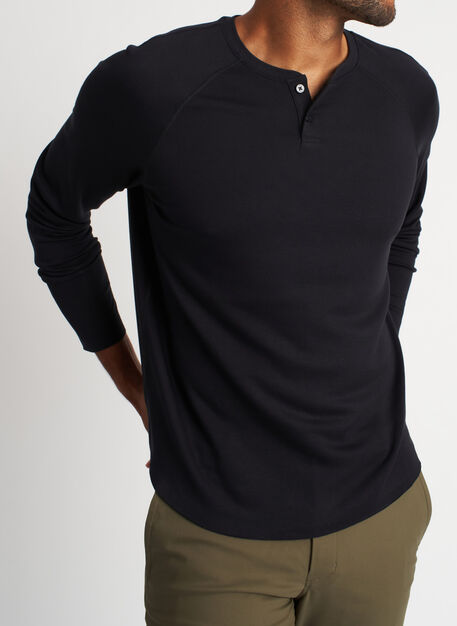 The B.F.T. Baseball Henley Tee, Black | Kit and Ace
