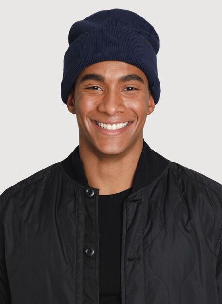Reversible Merino Toque, Navy Blue/Azure Blue | Kit and Ace
