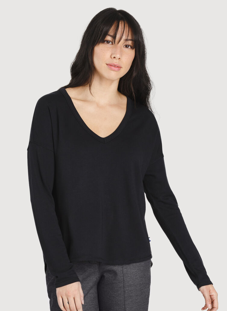 Easy Long Sleeve Tee, Black | Kit and Ace