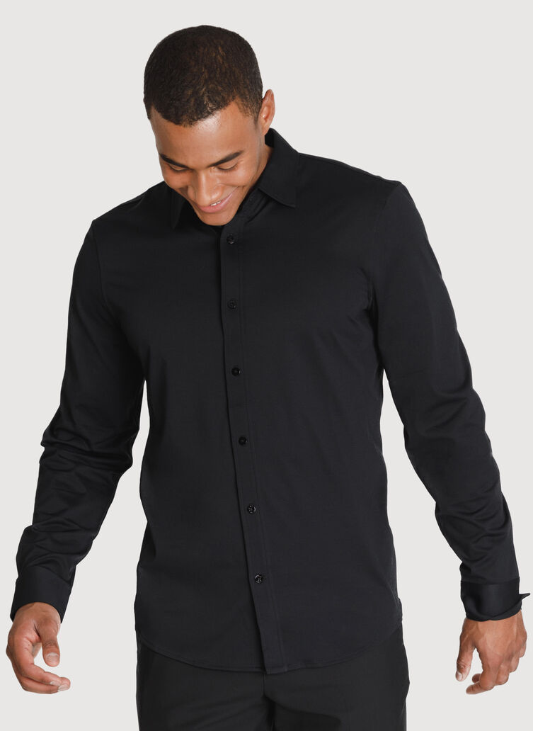 Court Stretch Long Sleeve, BLACK   Kit and Ace