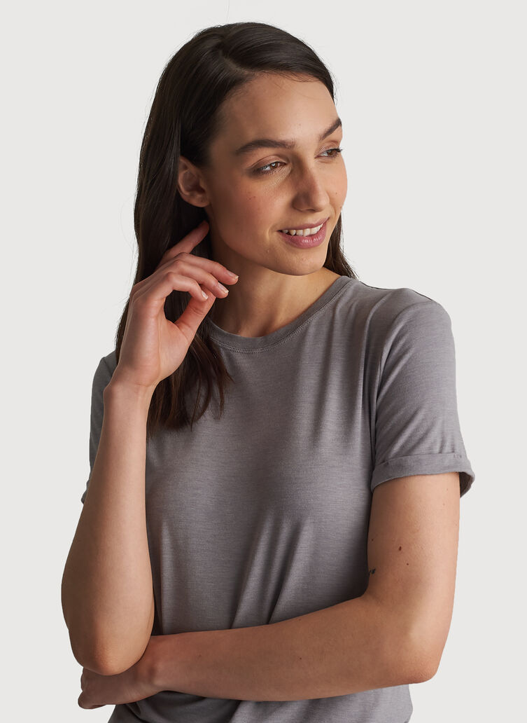 Kit Tech Jersey Crew Tee Relaxed Fit, HTHR Light Grey | Kit and Ace