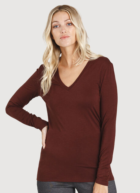 Kit Long Sleeve V-Neck, Cherrywood | Kit and Ace